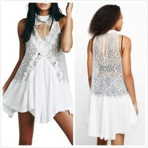 FREE PEOPLE Tell Tale Heart Cutout Lace Top Dress